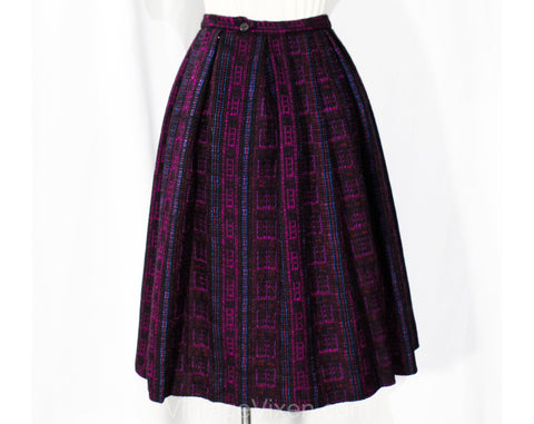 XXS 1950s Pleated Skirt - Folk Style Purple Red & Black Tweedy Wool Stripes - Size 2 Winter Full Skirt - 50s 60s Deadstock - Waist to 24