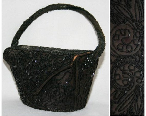 1940s Chocolate Taffeta Handbag with Black Beadwork - Brown 40s Formal Box Bag - World War II Era Evening Purse - Beaded - Elegant - 31072-1