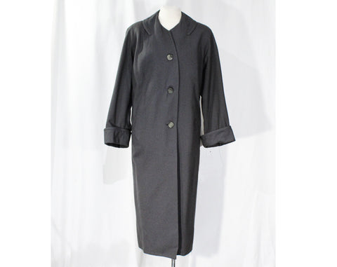 XL Gray 1950s Coat - Sophisticated Size 20 Mid Century Modern Wool Ladies Overcoat - Fall Winter Fine Quality Plus Size Outerwear - Bust 48