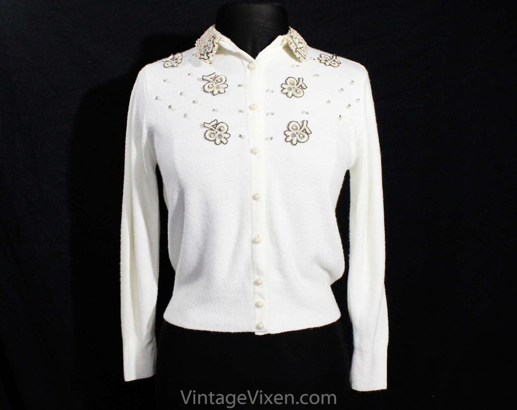 Size 10 1950s Cardigan with Rhinestones & Pearls - Medium 50s Button Front Sweater - Appliqued Metallic Gold White Acrylic Knit - Bust 36