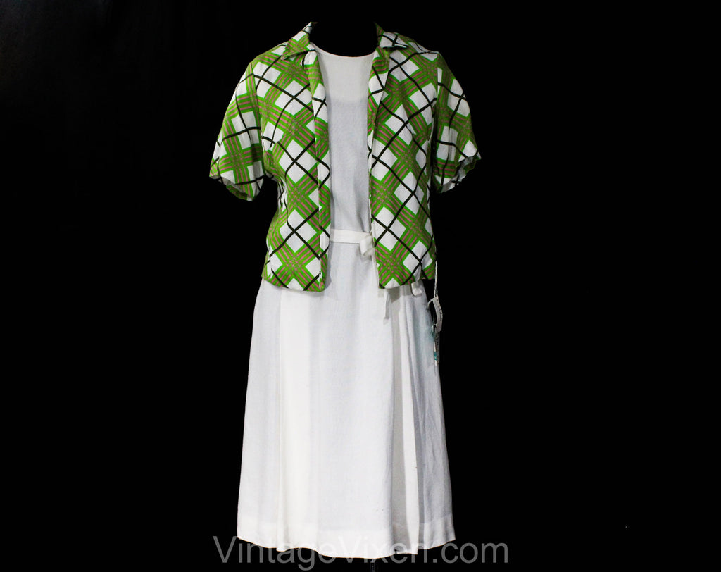 Size 10 1960s Summer Suit Set - Lime Green Plaid Jacket & White Linen-Look Rayon Dress - 60s Spring Office Wear - NWT Deadstock - Bust 36