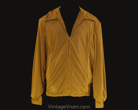 Men's Medium 60s Windbreaker - Mustard Goldenrod Yellow Brown 1960s Wind Breaker - Pick Stitched Seams - Zip Front Jacket - Chest 44