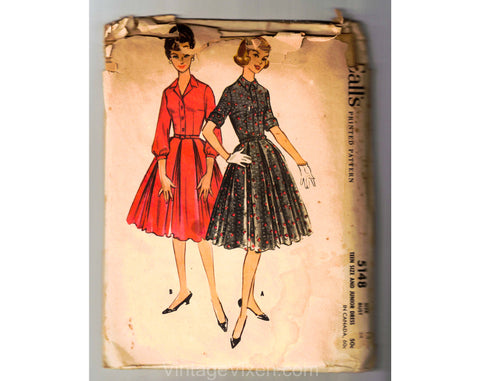1950s Shirtwaist Dress Sewing Pattern - Two Styles of Sleeves - Dated 1959 Unused Complete - Bust 34 McCalls 5148 - Teen Size Junior 50s
