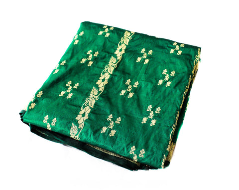 Emerald Green & Gold Wedding Sari Fabric - Over 6 Yards India Silk Continuous Yardage with Hand Knotted Fringe - Brilliant Vivid Hues