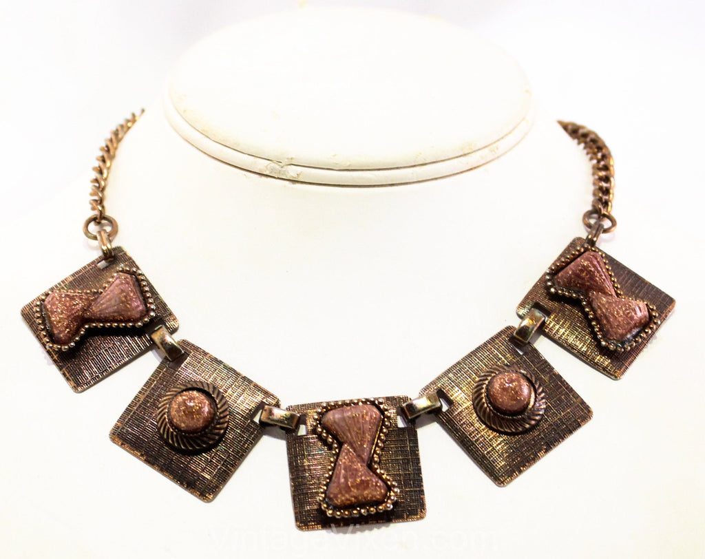 1950s Renoir Style MCM Necklace - Copper Brown Glitter & Bronze 50s Molded Plastic Mid Century Jewelry - Rockabilly Femme 1950's Casual
