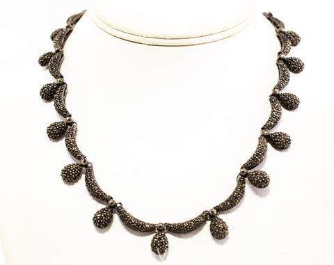 Vintage 1930s Sterling Enamel Necklace Holiday Fashions Red Copper