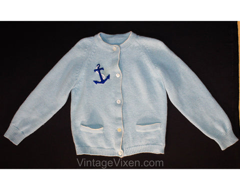 50s Girl's Sailor Cardigan - Size 5 Girls Button Front Sweater - Blue Wool Knit - Nautical Ship's Anchor - Preppy 1950s 60s - 5T Chest 24