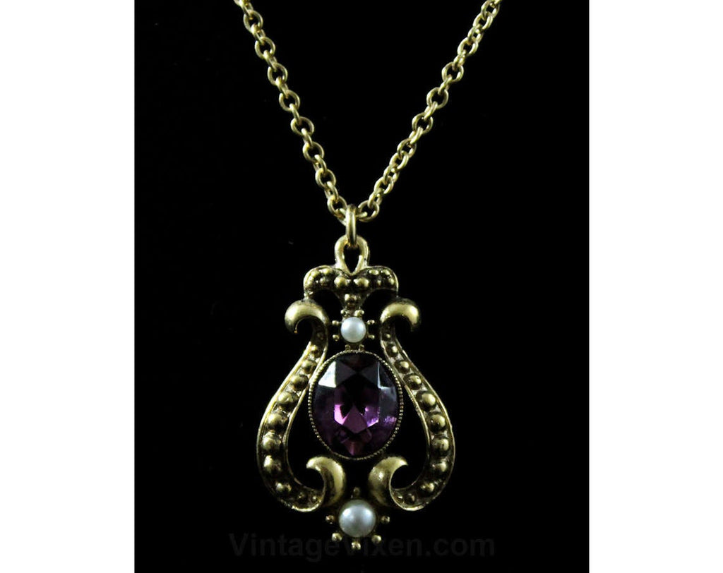 Amethyst Purple Glass Necklace - Victorian Revival 1960s 1970s Jewelry - Faux Stones - Art Nouveau Pendant & Chain - Antique Style Repro