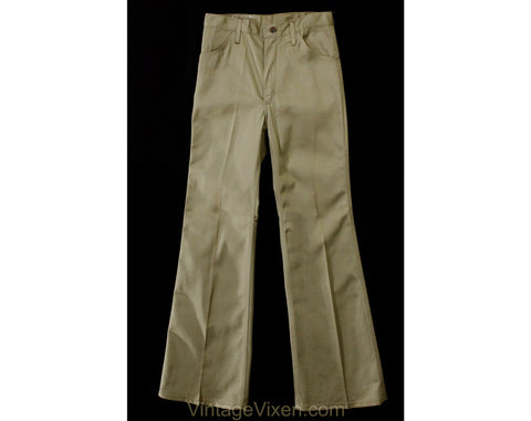 XS Mens 1970s Pant - Khaki Tan Men's Pant Can Be Unisex Ladies Size 2 - Cotton Wide Leg Trouser 70s 80s Wrangler Deadstock - Teen Size 18