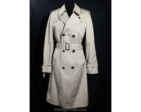 Pierre Cardin Men's Trench Coat - Size XS or Ladies 8 - Classic Tan 1980s Designer Overcoat with Logo Buttons - Paris Spy Style - Chest 36