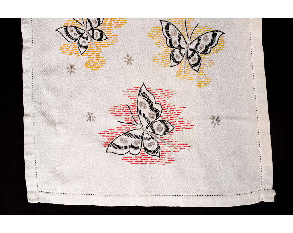 1950s Table Runner - Butterflies Novelty Embroidery - Starbursts & Butterfly Motif - White Gold Black Red - 50s Embroidered Dresser Runner