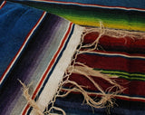 Rare Saltillo Blanket - Southwestern Serape - Mexico Handwoven 1930s 1940s Wool - Blue & Rainbow Kilim Stripe - Large Chimayo - 5x7 Ft