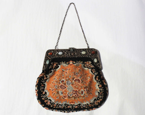 Victorian Inspired 1930s Purse - Peach Gray Black Floral Needlepoint Bag - Cutwork Metal & Stone Cabochons - Antique Look 20s 30s Handbag
