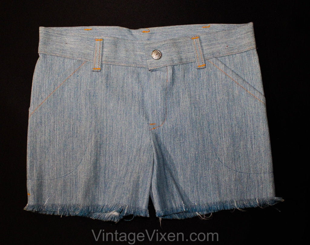 Girl's Size 8 1970s Cut-Off Shorts - Childs Light Blue Soft Denim Deadstock - Children's Summer Classic 70's Cutoffs with Frayed Hems