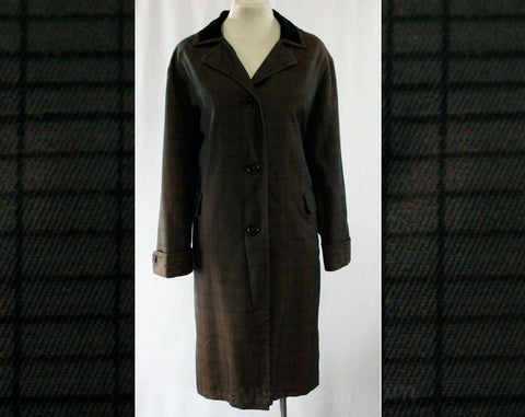 XL Ladies' 50s Sharkskin Coat - Size 20 - 1950s Outerwear - Copper Brown & Black Changeable Chameleon Canvas - Velveteen Collar - 43079