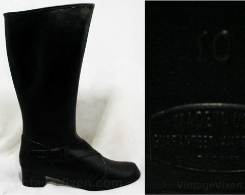 Size 7 Black Boots - Authentic Early 1960s Deadstock - Waterproof Vinyl - Fleece Lined - 60s - Faux Buckle - Rain Dears - Tall Winter Shoes
