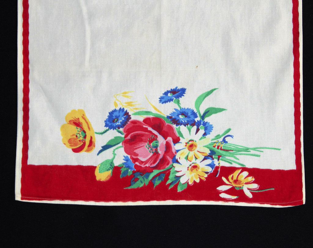 1940s Poppy Flowers Dish Towel - 40s 50s Rich Floral Print Kitchen Linens - Beautiful Red White Pink Yellow Blue Border Print - Thick Cotton