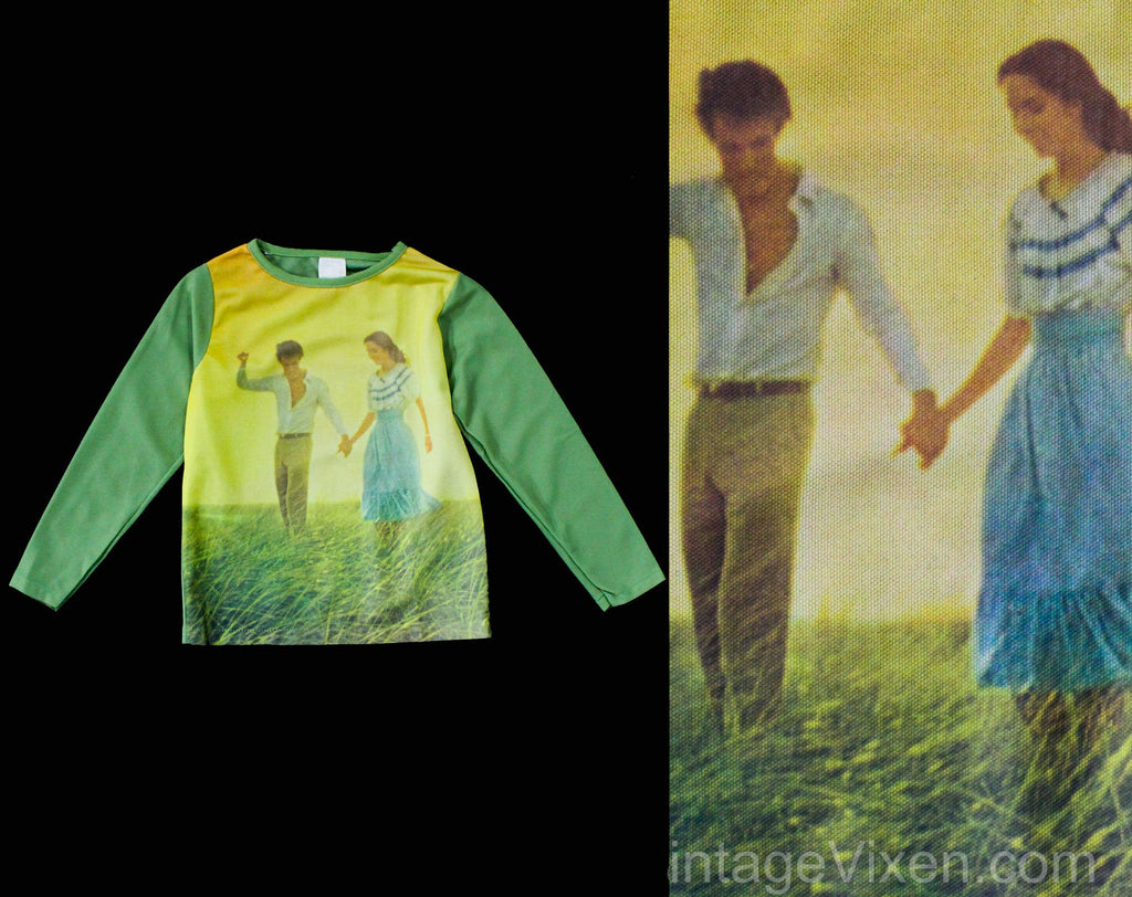 Size 10 Child's Hippie Shirt - Young Couple In Love Meadow 1960s 70s Top - Long Sleeved Mint Green Knit Casual - 1970s Girl's - Chest 29