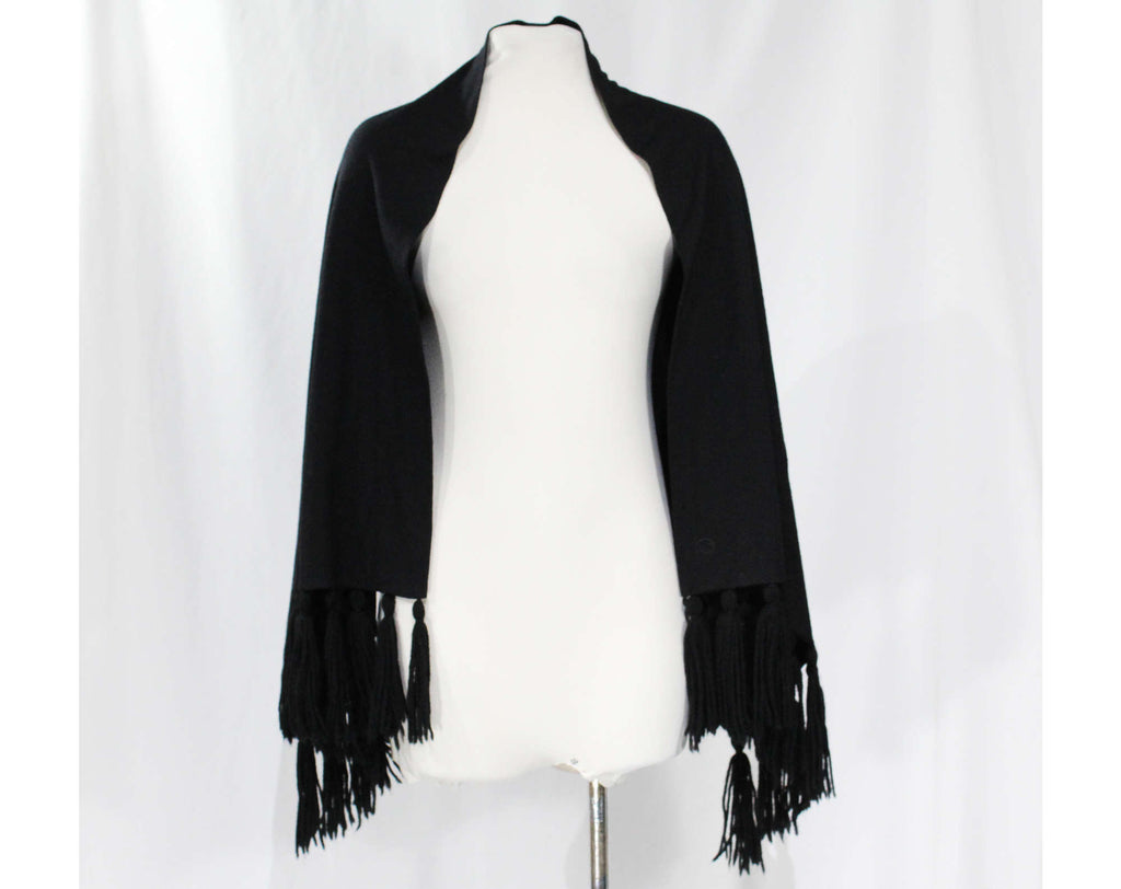 1950s Black Knit Shawl with Yarn Tassels - Any Size 50s Classic Winter Wrap - Large Warm Glamorous Rectangle Scarf - 53 x 22 Inches