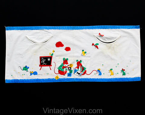 Child's 1950s Novelty Print Apron - Adorable Cat & Mouse Print 50s Smock Painting Top with Bug Insects - Red Blue Green Yellow - Size 4 to 6