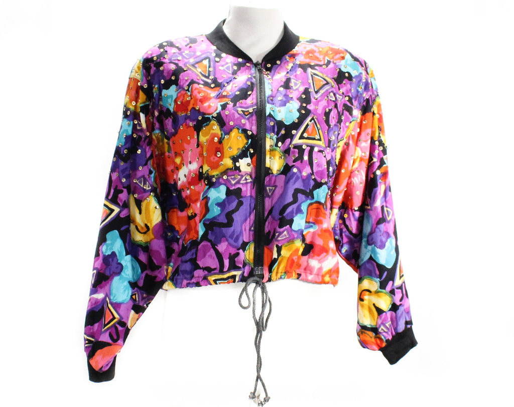 1990s Colorful Club Jacket - Size 14 Bright Floral Zip Front Street Jacket - Red Pink Blue Purple Black Splashy Sequined Rayon - Bust 42
