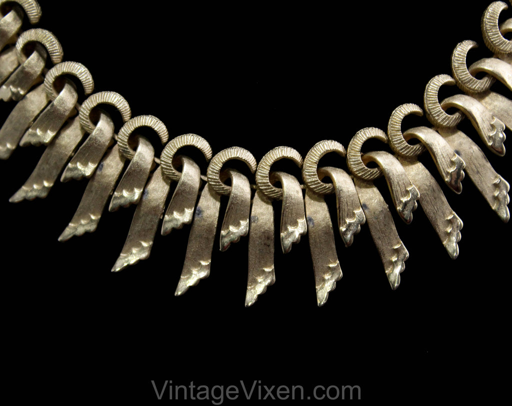1950s Metal Swags Necklace - Francois for Coro - 50s 60s Gold Hued Office Jewelry - Hollywood Regency Modern Elegance - Sunburst - 50505