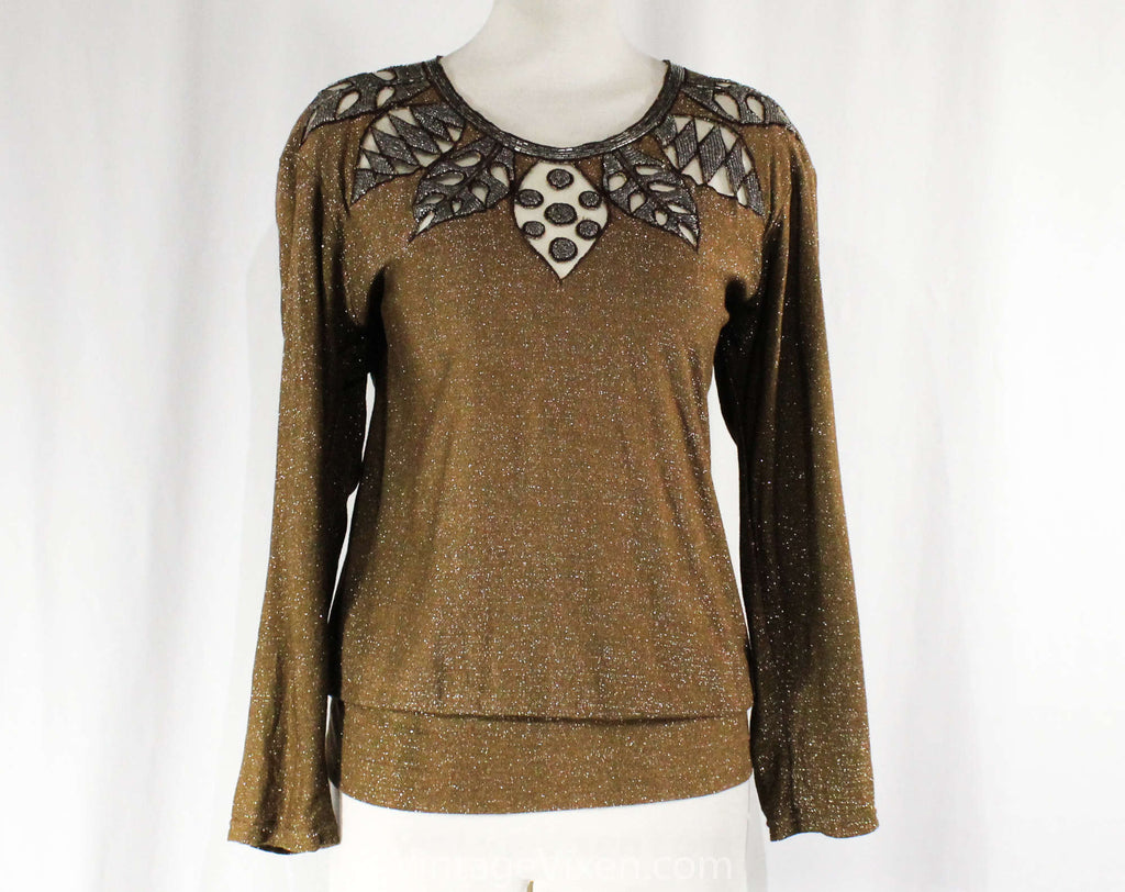 Medium Sparkly Brown Knit Top - Cutout Beaded Leaves - Size 10 Retro 80s Boho Sweater - Sheer Shoulders - Glitzy Shimmer - Bust 39 - 50853