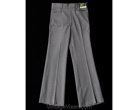 Teen Size 14 Gray Polyester 1960s Pants - Teenage Boys 60s Mod Trouser - Late 60s 70s Deadstock Houndstooth Double Knit - Waist 26 Inseam 29
