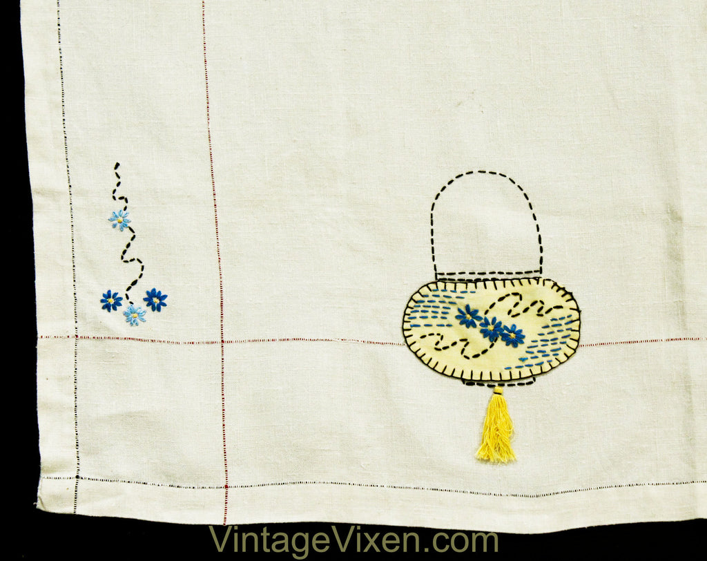 Asian Lanterns Tablecloth - 40s 50s Eastern Garden Origami Lights Embroidery on Square Linen Bridge Table Cloth - Yellow White Blue Pockets
