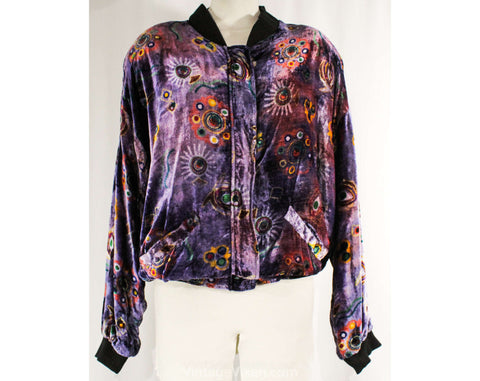 XL Purple Print Velvet Jacket - Plus Size Boho Daisy 1980s Club Wear - Made in India 70s 80s Rayon - Atomic Novelty Print - Bust 56 Inches