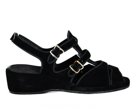 Size 4.5 Black 1940s Casual Sandals - 40s Peep Toe Suede Shoes - Small Size 4 1/2 Open Toe Platform - Buckle Strap Wedges - NOS Deadstock