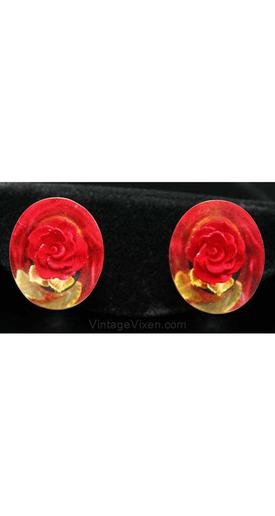 50s Red Rose Lucite Earrings - Romantic 1950s Trapped Flowers - Screwbacks - Clear Plastic 50's Lucite Jewelry - Kitsch Pretty & Feminine
