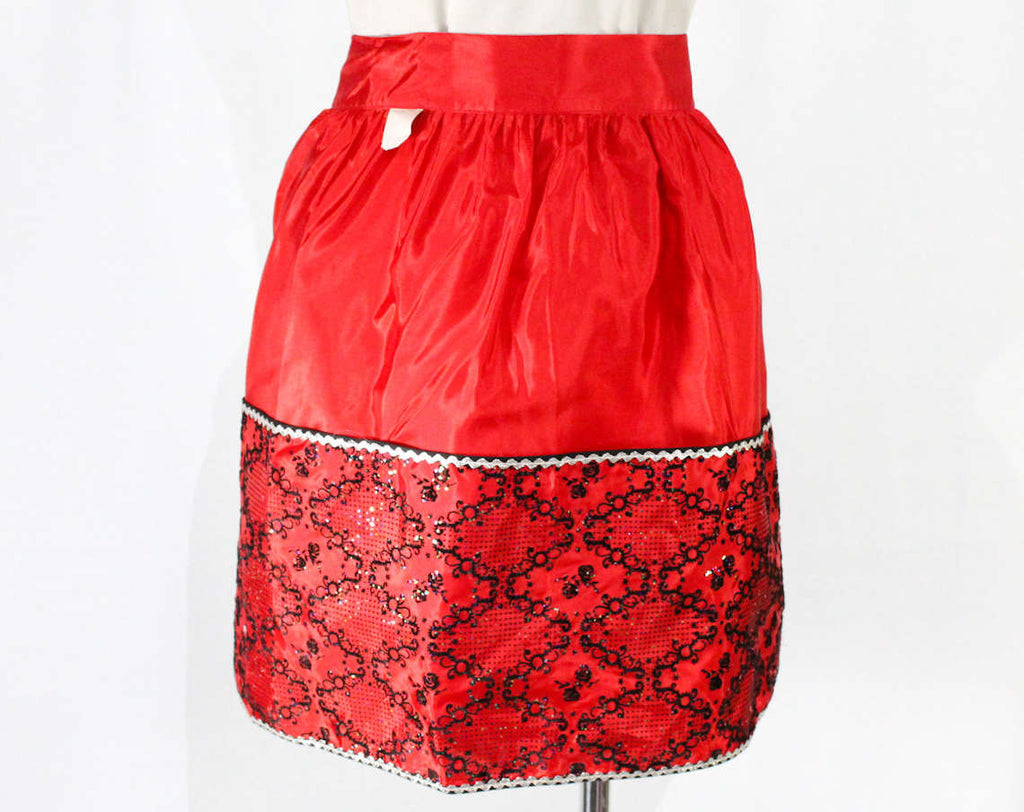 1950s Red Taffeta Apron - Medium Size - Rustling Festive Holiday Style 50s Half Apron - Black Flocked with Glitter - Unworn - Waist to 26