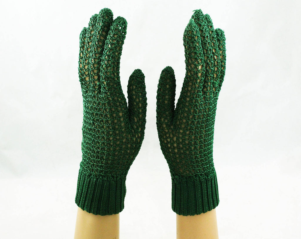 1930s Crochet Gloves - Pair of Green Gloves - 30s 40s Hand Crocheted - Pine Green Hue - Stretchy & Soft Silky Rayon - Ribbed Wrists - 47972