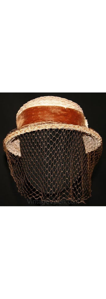 Lovely 1930s Whitewash Straw Hat with Cocoa Velvet & Veil -30s Millinery - Wonderful Character - Spring - Fall - Autumn - Net - 32236-1