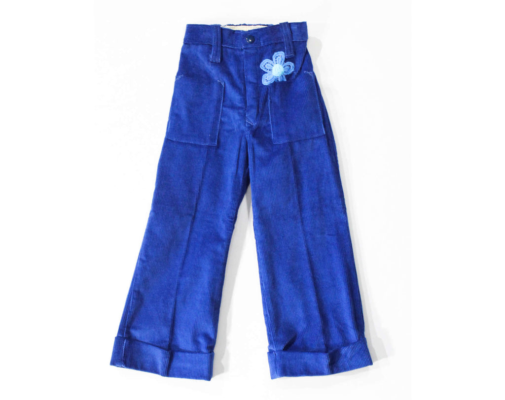 Girl's Size 6 Pants - Hippie Corduroy 60s 70s Child's Pant - Spring Fall BellBottoms with Pocket Full Of Poseys - Daisy Flower - Waist to 23