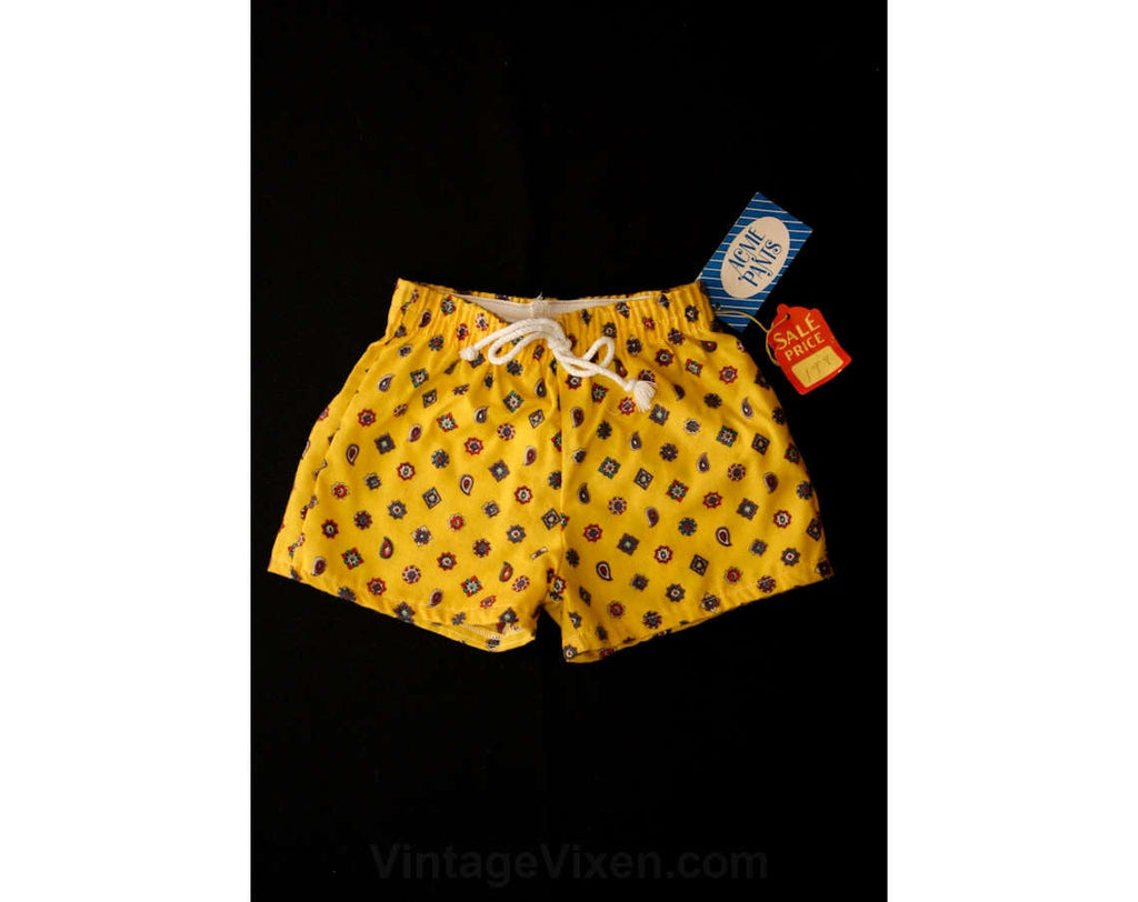 1950s Boy's Yellow Print Flannel Boxers - Size 5 - Boys Deadstock Underwear - Paisleys Medallions Print - Childrens 50s Underwear - 37086-1