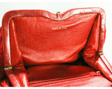 80s Red Designer Purse - Frances Patiky Stein Handbag - Crinkle Silk Satin & Leather 1980s Shoulder Bag - Haute Quality Made in Italy