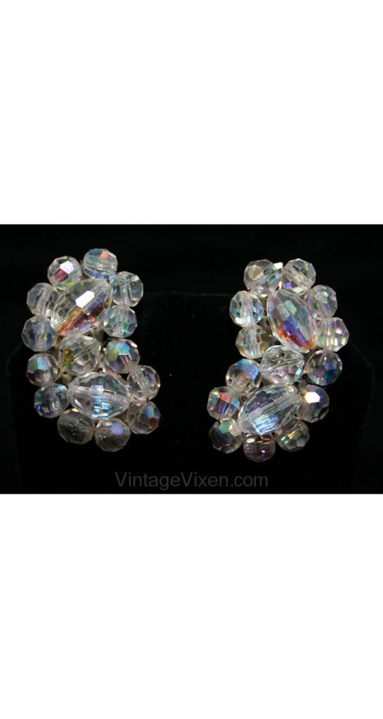 Cut Crystal 1950s Beaded Earrings - Curved Up The Ear - Glamour - Clip Earrings - Clear Glass Beads & Silver - 1950s - 28031-1
