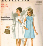 1960s Mod Dress Sewing Pattern - 60s Misses Minimalist Space Age A Line - Sleeveless & Long Bell Sleeves - Complete Bust 34 Butterick 5301