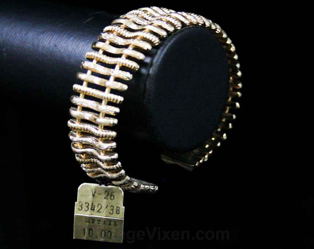 1950s Goldtone Cuff Bracelet - Modernist Abstract 50s Textures - 50's Deadstock Jewelry with Tag - Sophisticated Office Jewelry - 42472