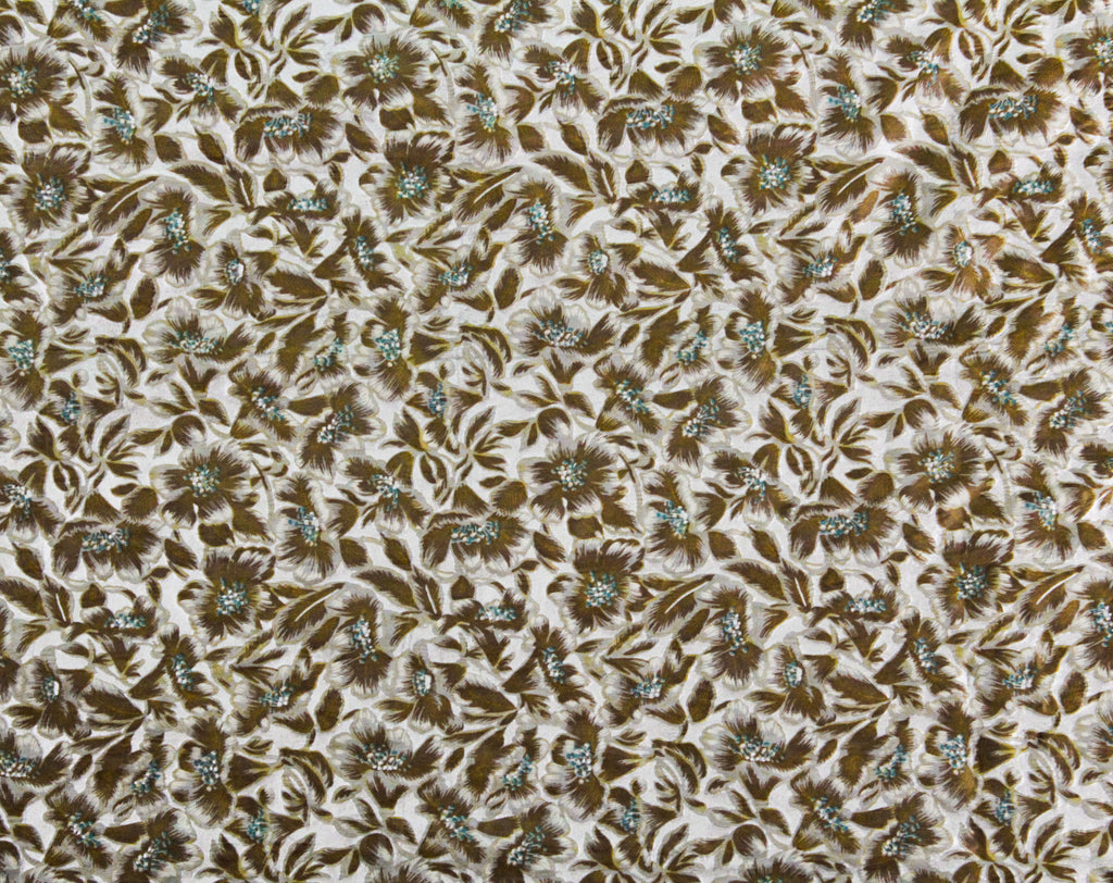 40s Floral Nylon Fabric - Over 2 Yards x 35 Inches - 1940s Floral Sheer Dress Yardage - Cocoa Brown Turquoise Blue Metallic Silver Material