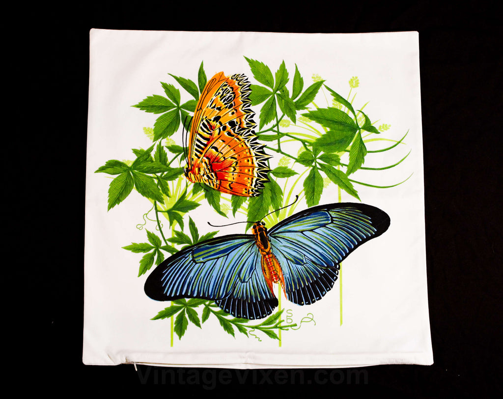 Butterflies Pillow Case - 1960s Tropical Botanical Square 17.5 Inch Pillowcase - Butterfly Novelty Print - Sea Horse Resort Chic West Indies