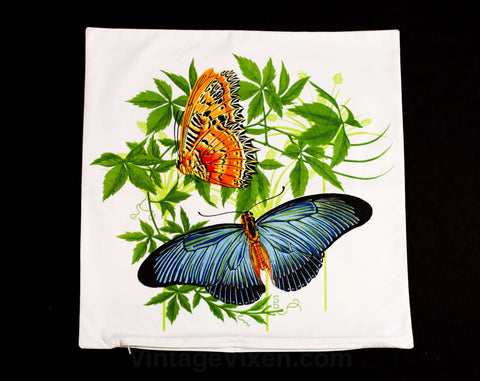 Butterflies Pillow Case - 1960s Tropical Botanical - Square 17.5 Inch Pillowcase - Butterfly Novelty Print - Sea Horse Resort Chic - 49719-1