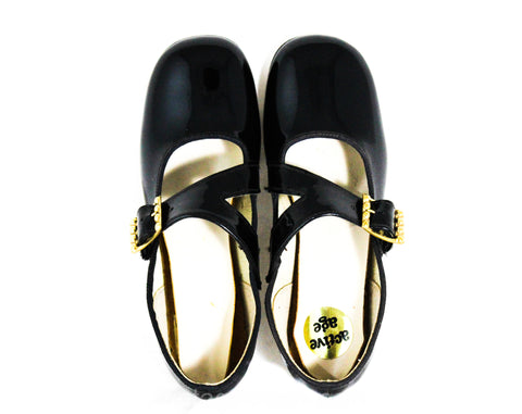 Child's Size 11 1/2 Black Mary Jane Shoes - Authentic 1950s 60s Little Girls Patent Vinyl - Big Buckles - Child Size 11.5 D - Deadstock NIB