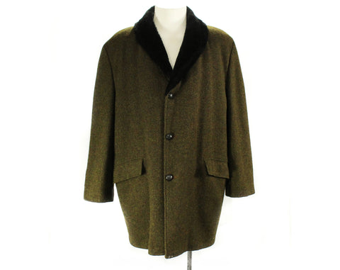 XL Men's Towncraft Car Coat with Faux Fur Collar - 1950s 1960s Mens 60s Hip Length Jacket - Fall Winter Brown Tweed - Big & Tall - Chest 50
