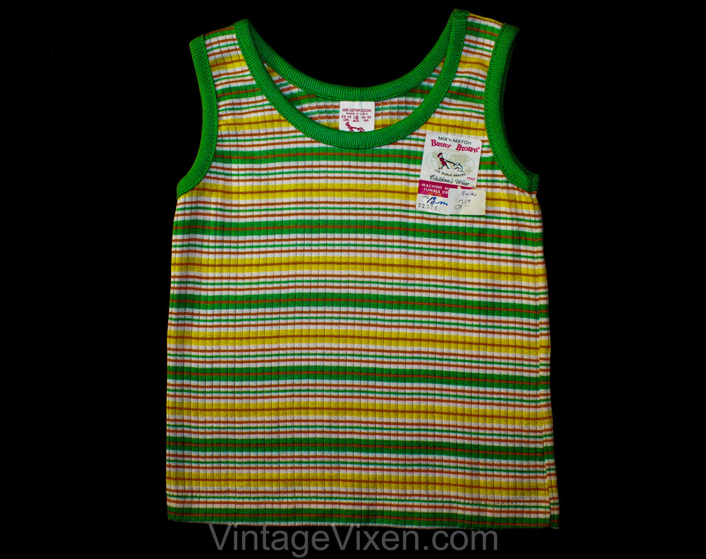 Gender Neutral 1960s Tank Top - 18 Month Toddler Shirt - Sleeveless Girl's Boy's Summer Striped Green Orange Yellow Knit - 60s 70s Deadstock