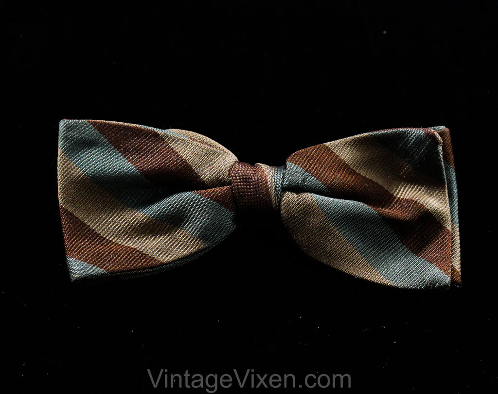 1950s Men's Bow Tie - Brown Tan & Gray Mens 50s Striped Bowtie - Dandy Diagonal Striped Mid Century 50's Clip On Tie - Fall Autumn Colors