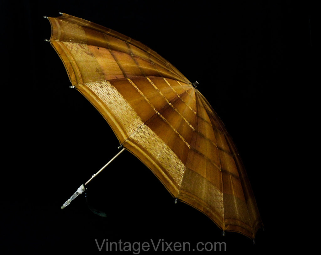 1910s Brown Umbrella - Mocha & Metallic Gold 10s 20s Parasol - Rayon Brocade with Bamboo Shaft and Clear Lucite Handle - Beautiful Style
