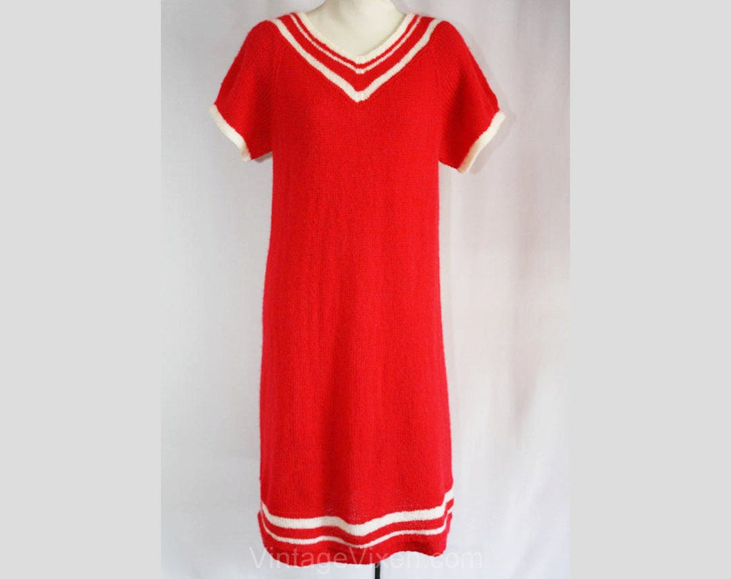 Size 10 1960s Coral Sweater Dress with Sporty White Stripe - Retro Vivid Pink Short Sleeved Knit - Racing Stripe - Mint Condition - 34457-1